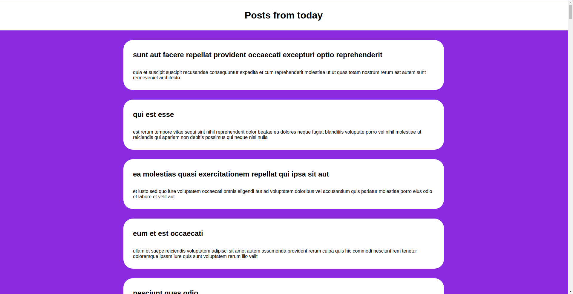 this image shows a screenshot of a few posts that have been fetched from jsonplaceholder